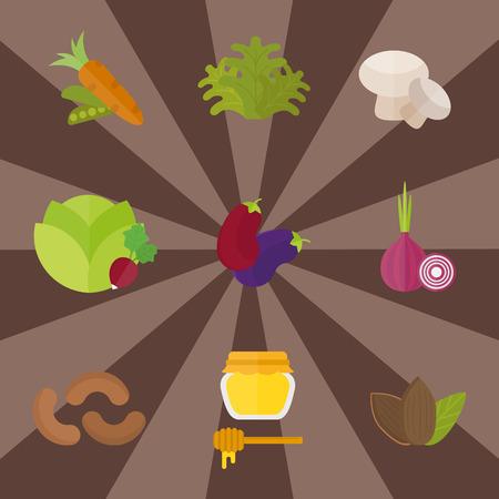 Vegan food nature restaurant fruit vegetarian healthy diet vegetable vector illustration Çizim