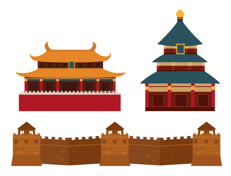 Great wall of China beijing asia landmark brick architecture culture history vector illustration.