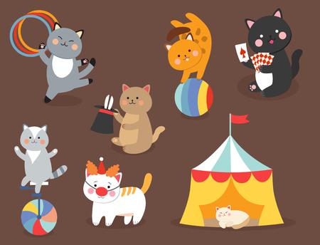 서커스 고양이 포유 동물을 재생하는 작은 국내 만화 동물들과 함께 아이들을위한 벡터 쾌활 한 그림을 벡터 일러스트