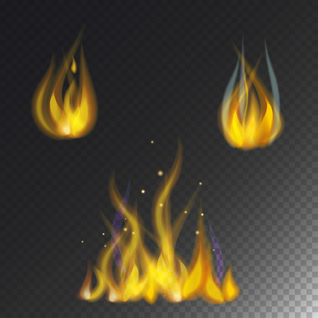 Fire flame hot burn vector icon warm danger and cooking yellow bonfire. Light blazing campfire ignite design and detail fireplace passion transparent sign. Illusztráció