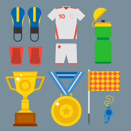 soccer goal: Football soccer icons player trophy competition web game team score win play flat design sport vector illustration. Referee championship stadium tournament symbols.