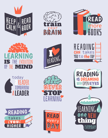 Book logo mix quote phrases vector illustration set design. Reading motivation badge university graphic knowledge library sign. Literature open page abstract information.