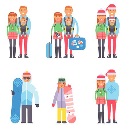 スーツケース旅行の旅行の概念を人々 ができてカップル冬季休暇を旅行します。ベクトルの休暇家族文字観光。荷物とパスポートを持つ家族  イラスト・ベクター素材