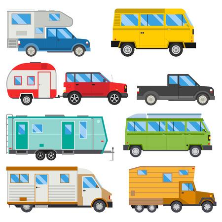 Campers Urlaub Reise Auto Sommer Natur Urlaub Anhänger Haus Vektor-Illustration flachen Transport Standard-Bild - 80379776
