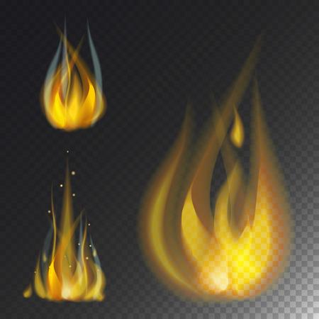 熱い炎を燃やすベクトル アイコン暖かい危険とキャンプファイヤーを燃える黄色たき火の光を調理します。