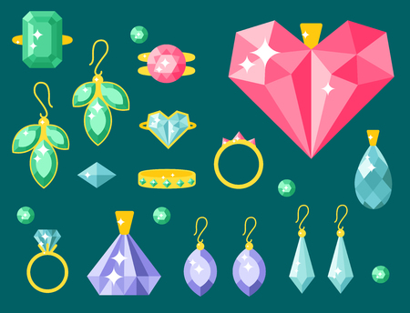 earrings: Vector jewelry items gold elegance gemstones precious accessories fashion illustration