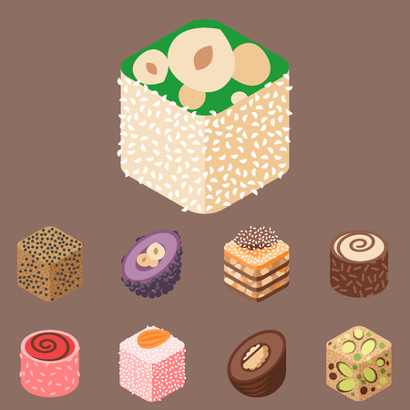 confection: East delicious dessert isolated sweets food confectionery homemade assortment vector illustration