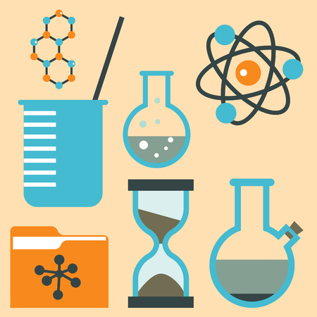 Lab symbols test medical laboratory scientific biology design science chemistry icons vector illustration.