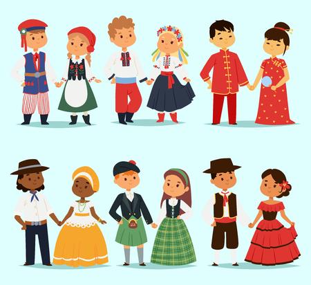 전통적인 아이 커플 세계 복장의 소녀 여자와 소년 다른 국가 의상 및 귀여운 작은 국적 드레스 벡터 일러스트 레이 션.