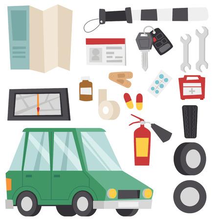 Auto transport motorist icon symbol vehicle equipment service car driver tools vector illustration. Stock Vector - 80423763