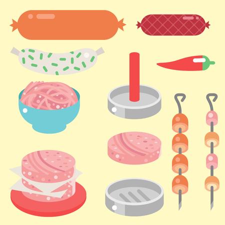 肉製品の成分や素朴な要素準備機器食品フラット ベクトル イラスト。  イラスト・ベクター素材