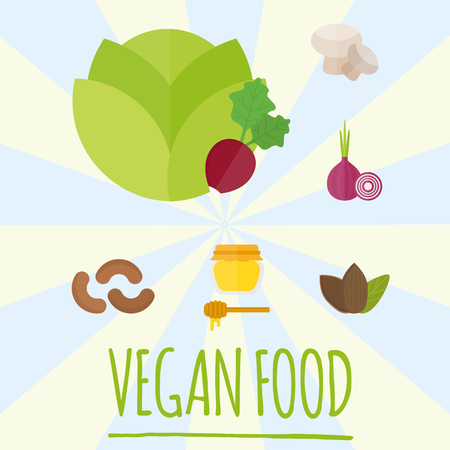 Vegan food nature restaurant fruit vegetarian healthy diet vegetable vector illustration Stock Photo
