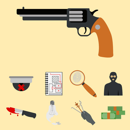 jail: Crime icons protection law justice sign security police gun offence felony transgression flat vector illustration