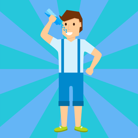 Happy boy child is smiling portrait of young male drink water character vector illustration Illustration