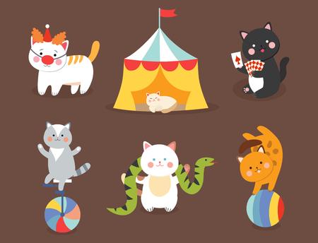 De vector vrolijke illustratie van circuskatten voor jonge geitjes met weinig binnenlands beeldverhaaldieren die zoogdier spelen Stock Illustratie