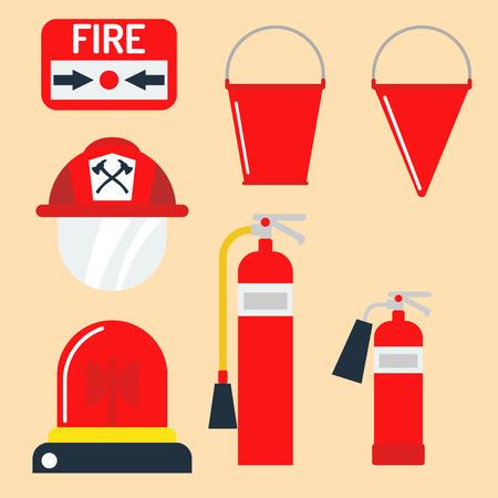 Fire safety equipment emergency tools firefighter safe danger accident protection vector illustration. Illustration