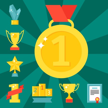 Vector trophy champion cup flat icon winner gold award prize sport success best win golden illustration. Illustration