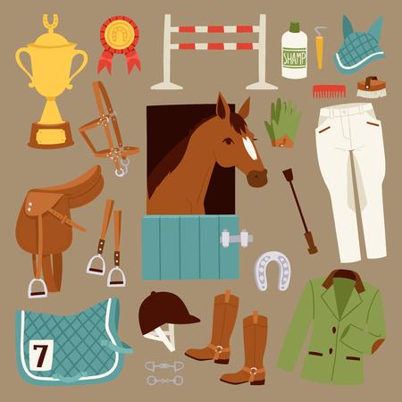 Platte kleur jockey iconen set met apparatuur voor paardrijden geïsoleerd en hoefijzer zadel sport race paardensport hengst barrière vector illustratie Stock Illustratie