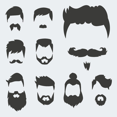 Vector set of hipster retro hair style mustache vintage old shave male facial beard haircut isolated illustration