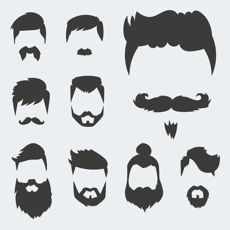 Vector set hipster retro haarstijl snor vintage oude scheerbeurt mannelijke gezicht baard kapsel geïsoleerde illustratie