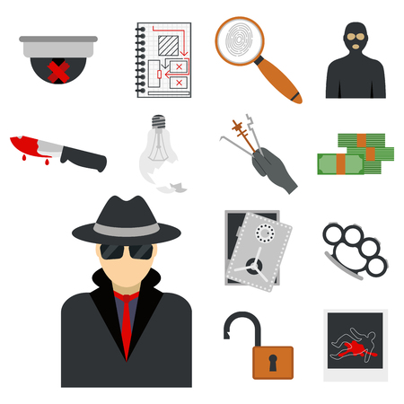 Crime icons protection law justice sign security police gun offence felony transgression flat vector illustration