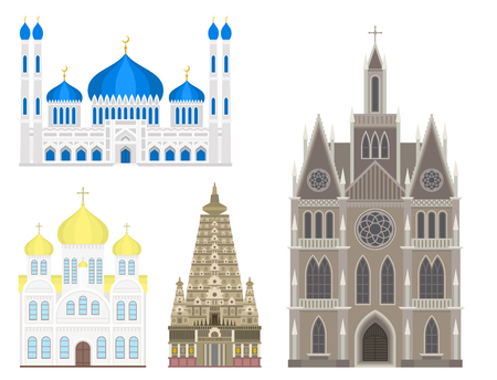 Cathedral church temple traditional building landmark tourism vector illustration Stok Fotoğraf - 80699954