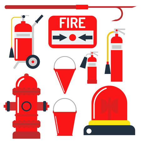 burning: Fire safety equipment emergency tools firefighter safe danger accident protection vector illustration. Stock Photo