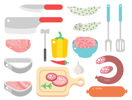 Meat products ingredient and rustic elements preparation equipment food flat vector illustration. Zdjęcie Seryjne