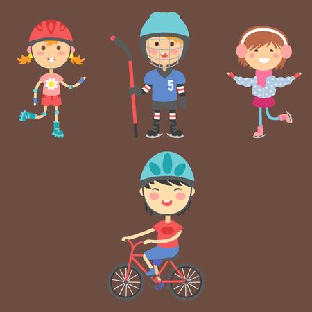 running: Young kids sportsmens future roller skates gymnastics children sport players vector illustration.