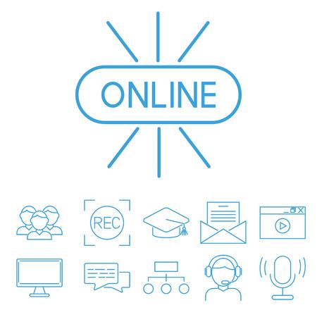 평면 개요 아이콘 온라인 교육 직원 교육 도서 저장소 먼 학습 지식 벡터 일러스트 레이션