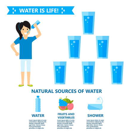 hydrate: Body water drink infographics health people diet lifestyle concept brochure infochart vector illustration Illustration