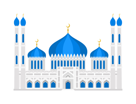Cathedral muslim church temple traditional building landmark tourism vector illustration