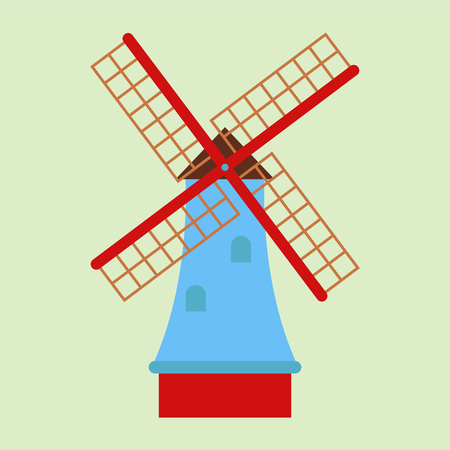 Windmill tourism travel design famous building and euro adventure international vector illustration.
