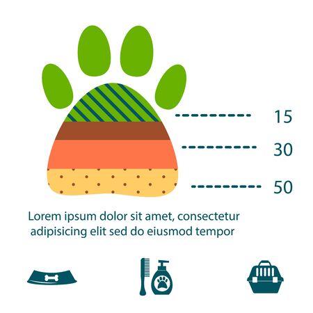 Dachshund dog playing infographic vector elements set flat style symbols puppy domestic animal illustration