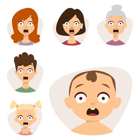 Vector conjunto emoticons hermosa cara de personas miedo shock sorpresa avatares personajes ilustración Foto de archivo - 80780224