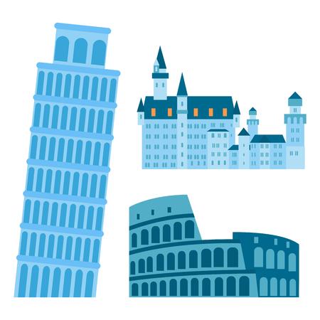 ユーロの旅観光旅行ユーロ冒険国際ベクトル イラストとデザインの有名な建物。