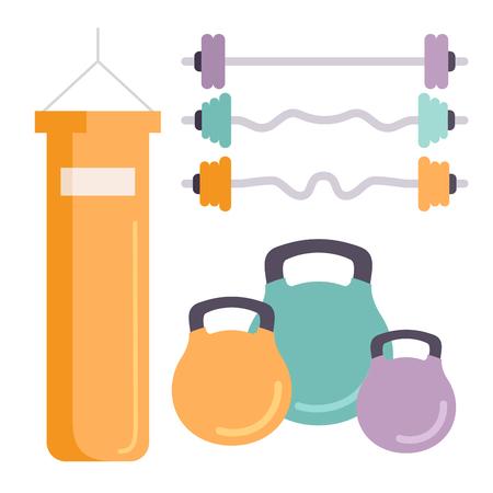 Fitness club de gimnasio vector iconos athlet y el deporte de la actividad del cuerpo herramientas wellness dumbbell equipo Foto de archivo - 80807727