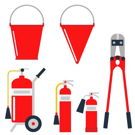安全装置緊急アイコン消防士シンボル安全危険事故炎保護ベクトル図を起動します。危険警告注意ツール消防ツール。