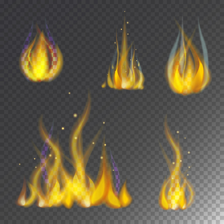 Fire flame hot burn vector icon warm danger and cooking yellow bonfire. Light blazing campfire ignite design and detail fireplace passion transparent sign. 向量圖像