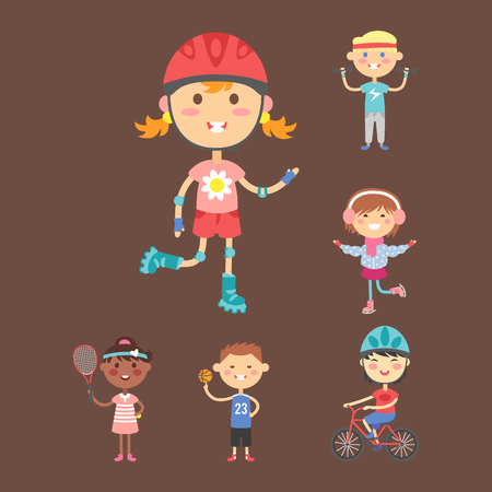 Young kids sportsmens future roller skates gymnastics isolated and children young winners after sport school team players vector illustration. Play competition active healthy lifestyle people.