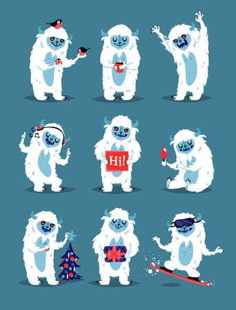 Cute Yeti Abominable muñeco de nieve, Bigfoot Sasquatch bigfoot monstruos personaje como personas vector set. Etiqueta engomada de la expresión única de los monstruos de la fantasía del invierno aislada. Mascota de fantasía animal loco