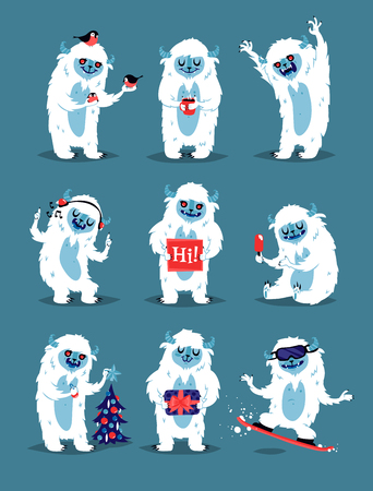 monsters character vector set. Winter fantasy monsters unique expression sticker isolated. Fantasy mascot crazy animal