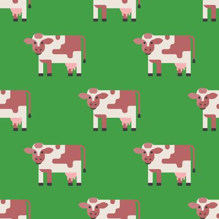 牛ファーム動物文字ベクトル イラスト牛哺乳類自然野生牛農業シームレス パターン。  イラスト・ベクター素材