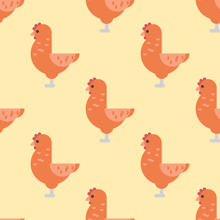 Cute cartoon rooster vector illustration chicken farm animal agriculture domestic character seamless pattern