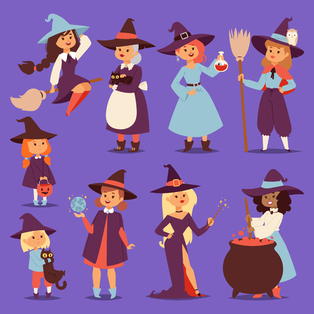 Cute little witch hag harridan vixen with broom cartoon cat for print on bag magic Halloween card fantasy young girls character costume hat vector illustration.