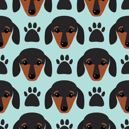 pedigreed: Little dachshund puppy head seamless pattern dog young pedigreed animal breed vector illustration