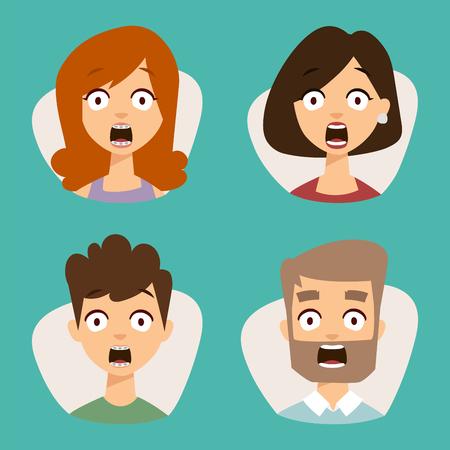 Vector conjunto de emoticones hermosos cara de personas miedo shock sorpresa avatares personajes ilustración Foto de archivo - 80785745