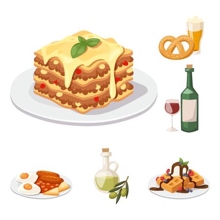 Europees smakelijk het dinervoedsel die van de voedselkeuken heerlijke elementen vlakke vectorillustratie tonen.