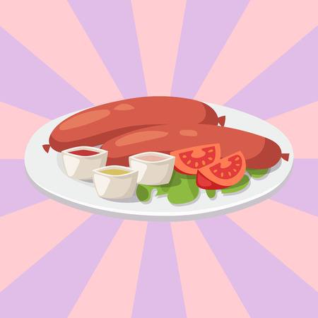 Smoke dried sausages with ketchup dish meat dinner cuisine delicious lunch pork meal barbecue vector illustration Ilustracja