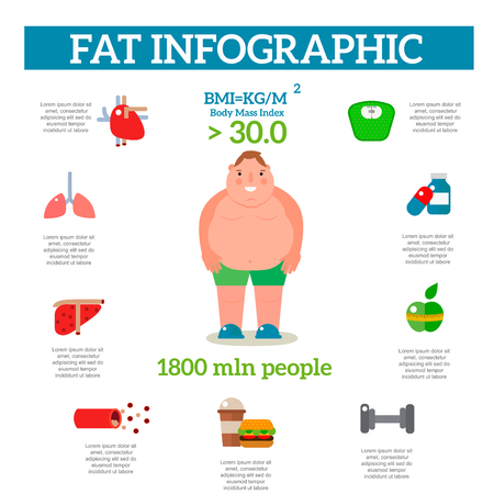 Lose weight by jogging infographic elements and health care concept flat vector illustration Çizim